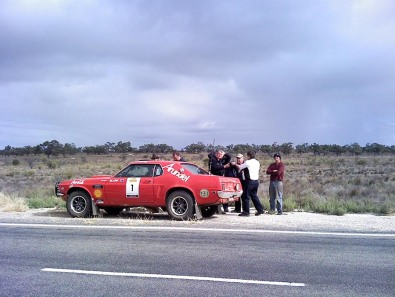 Car 1 @ 24km in SS23 Wheel bearing noise. Still running. Now 4th last on road
