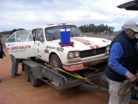Car 6 after SS24 broken differential and tail shaft out for rest of event