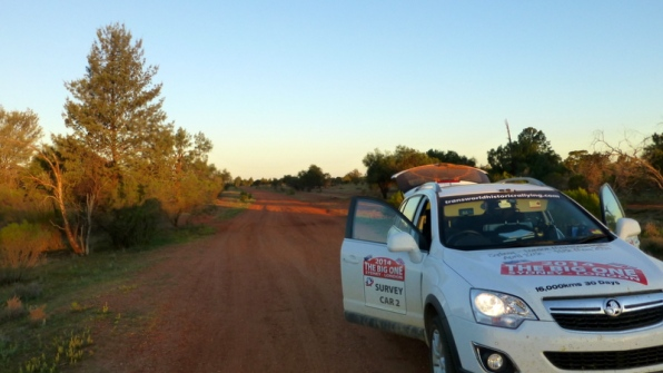 Stage finish of Hilliview - with the sun setting. From here into Cobar and a well earned break.