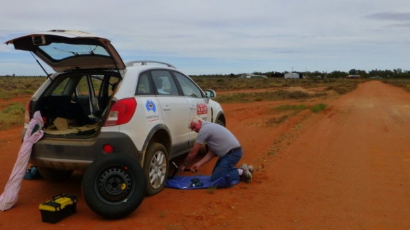 Slow start to the day... a flat on the way into Avondale, near Broken Hill.