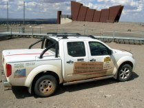 Dual cab Nissan Navara ute, pictured at the Line of Lode Miners Memorial in Broken Hill, on the 2010 COT survey.