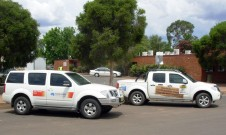 Taken at Cobar, NSW, during a 2010 COT survey. The Nissan Pathfinder (left) is part of Frontier Services fleet, while COT organisers were using the dual cab Navara ute.