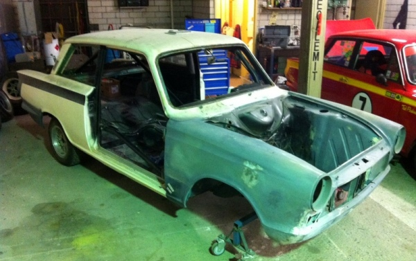 Ted and Joel Perkins' COT 2014 Lotus Cortina, ready for a trip to the painters.