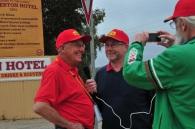 Alan Baker interviewing Bob Watson, Geoff Hale on camera.