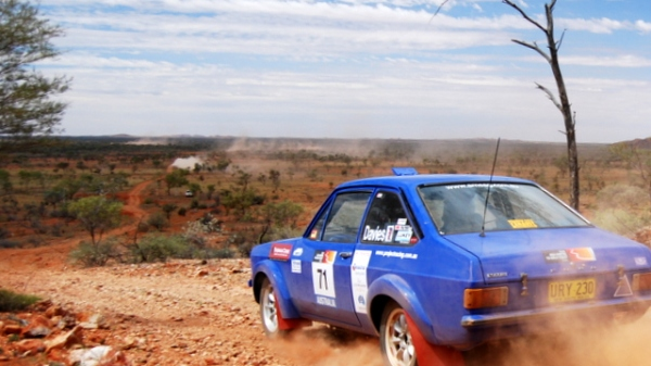An Escort rallying in Central Australia