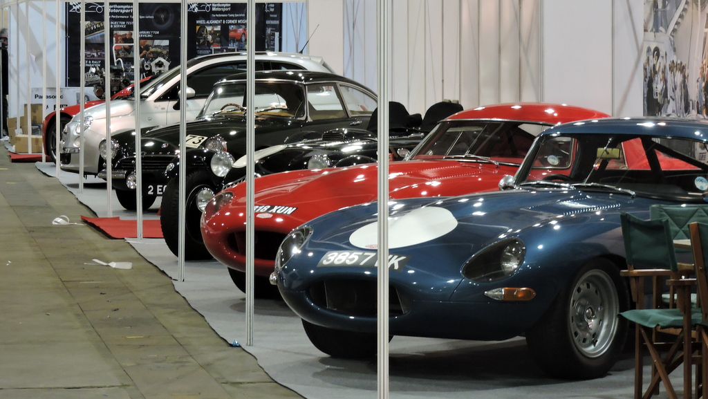 A line of classic cars at Race Retro