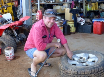 Richie at the Grape Farm helped us with a flat.