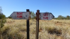 signs saying Right Fork on the left and Left Fork on the right.