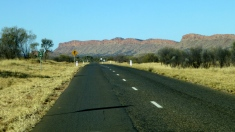 Road alongside the MacDonnell Ranges