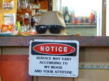 Sign on counter at Stuarts Well