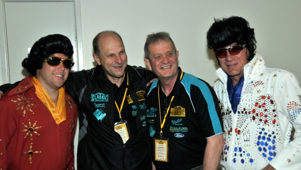 Pic of Ross and John with two elvis presley impersonatotrs