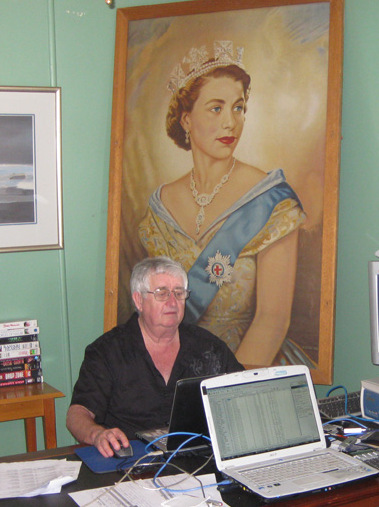 Hard at work in Bourke on the Red Centre to Gold Coast - with someone watching over his shoulder.