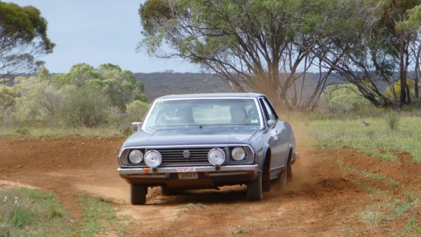 Hal Moloney and Peter Meddows in the big P76 on a special test near Renmark.