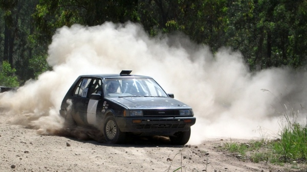 Evan in the Corolla at the Redmist Rallysprint