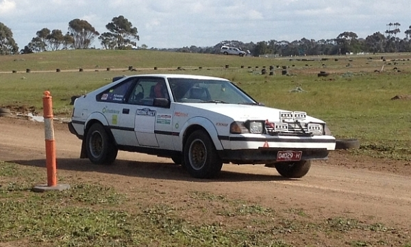 A white Toyota Celica competing at an autocross