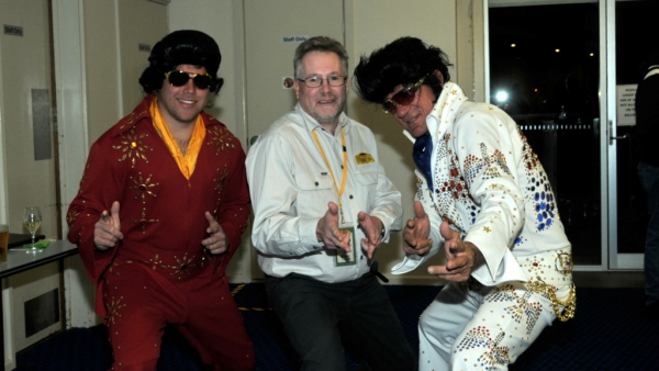 Alan and two Elvis Presley impersonators