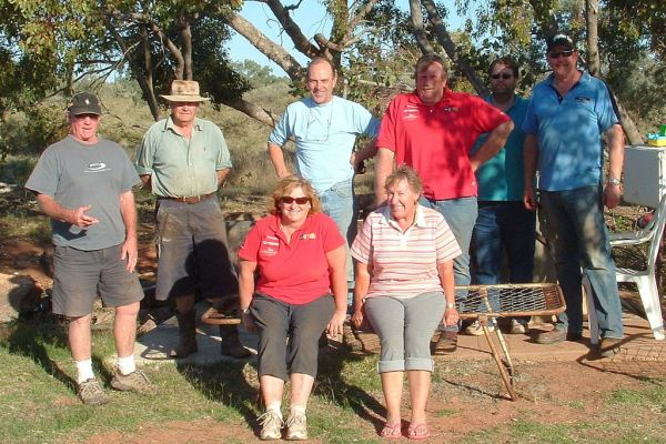 Two Road Crews at Elleslie Station in the 2008 RC2GC. LtoR: Peter, the Station owner, Joan, Chris, Marg, Bill, Darren and Cameron.