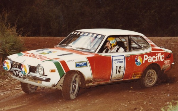 Bill navigating for Bruce Robinson in the Autosport Stages.
