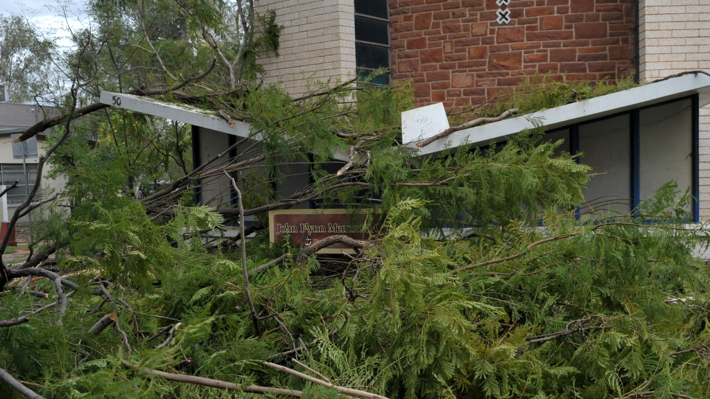 The John Flynn Memorial Church in Todd Mall, was hit by a falling tree.