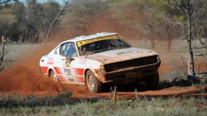 Iain Reddiex and Mike Mitchell in the Toyota Celica RA28 on the first day of competition on COT16.