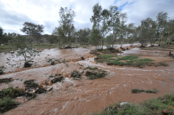 The Todd River is well and truly flowing after extraordinary rains